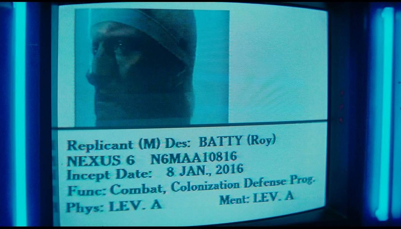 Blade Runner - Ridley Scott (USA 1982) - L'inception date di Roy Batty