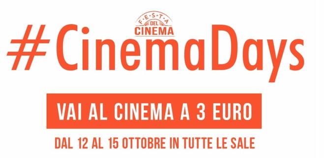 Il cinema in sala a 3 euro dal 12 al 15 ottobre: #Cinemadays