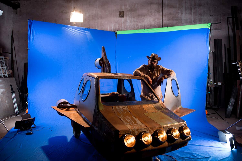 Luca Taiti sul set di Bandits on Mars. Foto di Silvia Bavetta