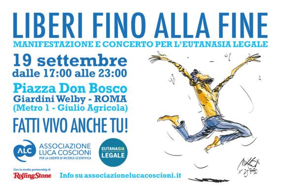 Liberi Fino alla Fine, il grande concerto per l'Eutanasia legale a Roma il 19 settembre